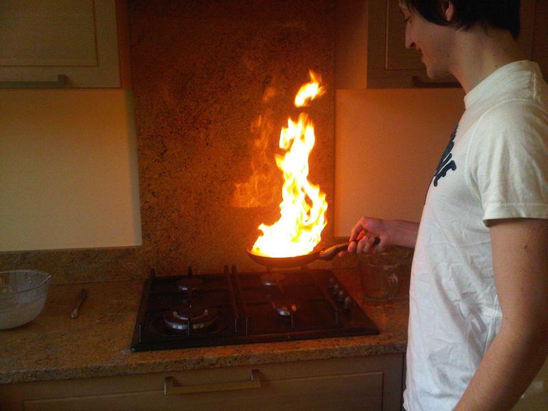 Alex cooking pancakes